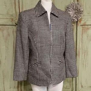 Ralph Lauren wool houndstooth zip up jacket Blazer